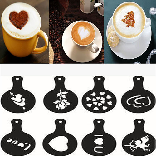 8pcs/set Coffee Latte Cappuccino Coffee Coffee Art Books Stencils Template Sprinkled Flowers Pad Duster Coffee Spray Decoration