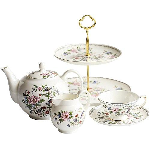 British Canary Tea Cup Saucer Set Bone China Tea Pot Teacup Coaster Coffee Mug Set Household Teaware Set Coffeeware Supplier