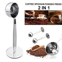 2in1 Stainless Steel Coffee Tamper Measuring Spoon Scoop with Stand Espresso Coffee Bean Tea Spoon Coffeeware Kitchen Gadgets
