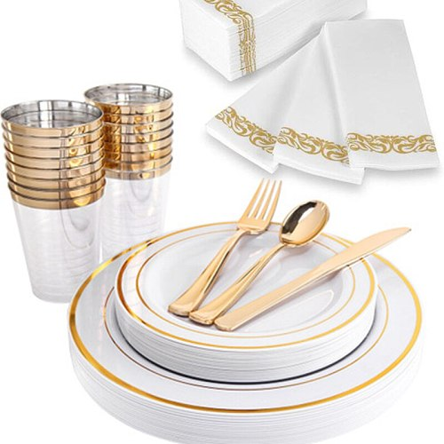 10pcs/Lot Disposable Gold Plastic Plate Cup Party for Birthday Party Decoration of Celebration and Anniversaire Wedding Decor