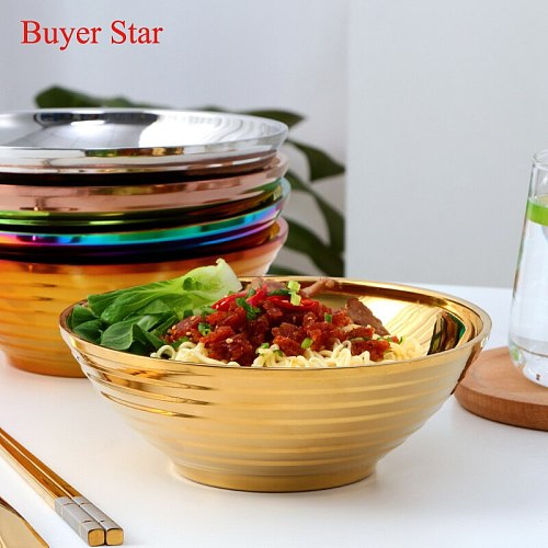 Ramen Bowls with chopsticks set Tableware Food Stainless Steel Bowls instant noodle Bowl Metal Soup Bowl for dining table ware