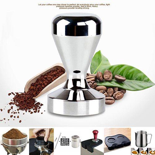 Food Grade Material 51mm Coffee Barista Espresso Flat Tamper Base Clear Body Aluminium Coffee Press Hammer