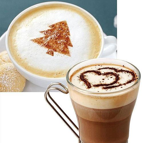 New 16pcs Plastic Fancy Coffee Printing Model Cake Coffee DIY Decoration Mold Fondant Pattern Printing Stencils