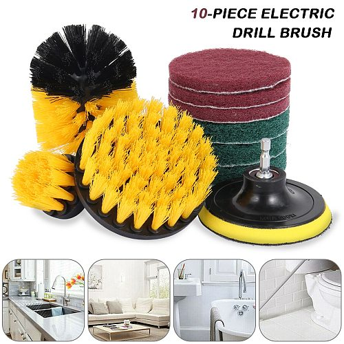 10Pcs Drill Brush Attachment Set Power Scrubber Cleaning Kit Combo Scrub Tub Cleaner Home Cleaning Tool
