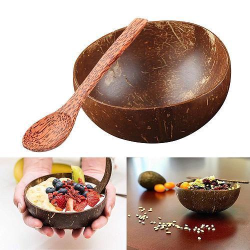 Coconut Bowl Eco-friendly Health Durable Coconut Shell Bowl Fruit Salad Noodle Wooden Rice Bowl Creative Home Tableware