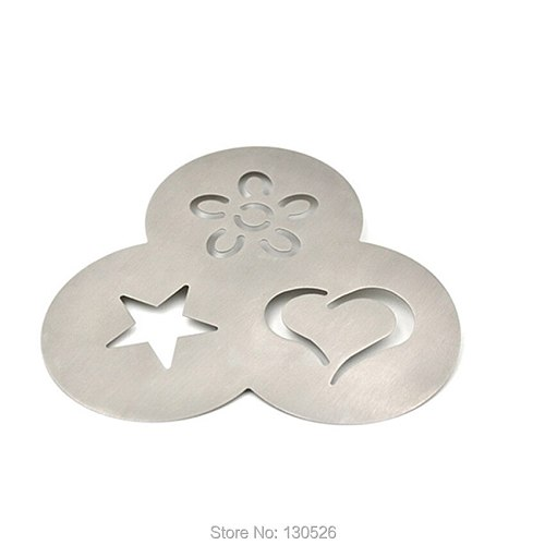 1Pcs New Stainless Steel Coffee Stencil mold Creative Coffee Stencils Heart-shaped Coffee and Tea Tools kitchen Table Supplies