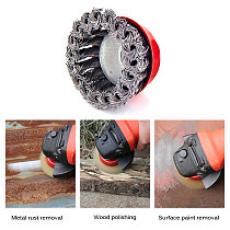 Steel Rotary Joint Knot Flat Wire Wheel Cup Brush Disk Rust Removal Polishing For Drill Angle Grinder Gadget Rotary Tool