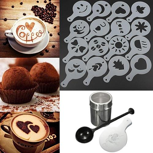 Coffee Mold Printing Assembly Chocolate Shaker Duster 16pcs Cappuccino Coffee Stencils  Measure Spoon