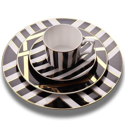 Free shipping Service Plate Set Bone China Dinner Plate Coffe Cup Saucer Coffeeware Dinnerware Dessert Tray Kitchen Supplies