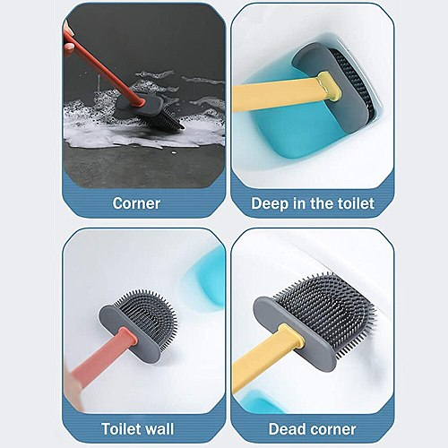 Silicone Toilet Brush Without Drilling Wall Mounting Standing Brush Premium Toilet Cleaning Hygienic Container For Bathroom