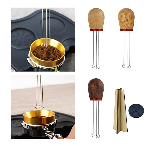 Solid Wood Handle Coffee Tamper Wider Stir Area Stirring Needle Powder Tool