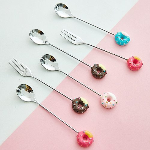 1PC Donut Cute Stainless Steel Doughnut Dessert Spoon Fork Coffee Ice Cream Candy Kitchen Flatware Baby Kids Dinnerware