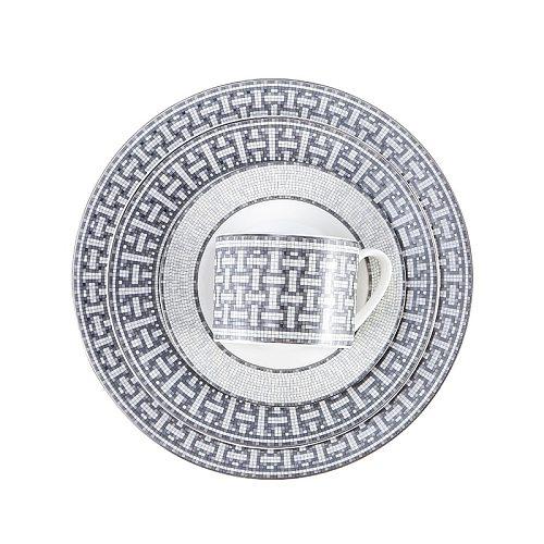 European-Style Bone China Ceramic Plate Set Gray Dinner Set Plates and Dishes Nordic Kitchen Porcelain Tableware Cake Luxury