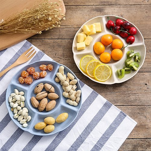 Multi-function Plastic Fruit Plate Dessert Tray Plate Snack Dish 6 Compartments Plate