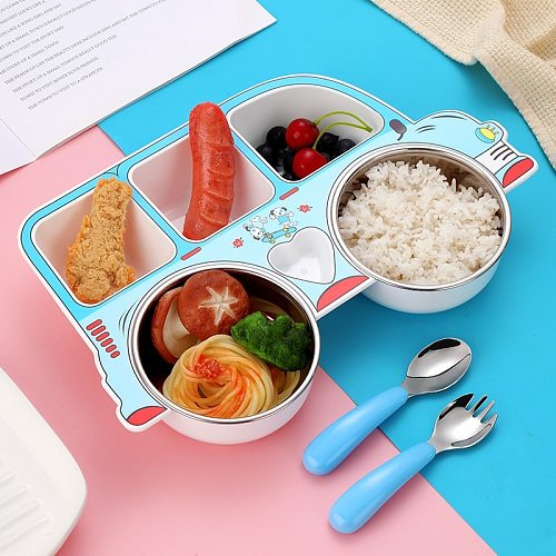Stainless Steel Baby Feeding Bowl Children Tableware Set Cute Cartoon Car Shape Dishes Plate with Spoon Fork for Eating Training