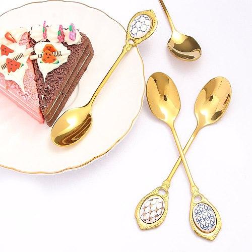 Stainless Steel Spoons Inlay Ceramic Handle Coffee Scoop Vintage Gold Color Dessert Spoon Elegant Fashion Cake Scoop
