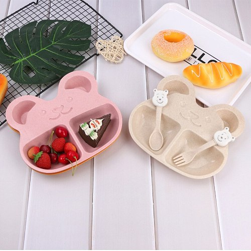 3Pcs/Set Baby Feeding Food Tableware Solid Toddle Cartoon Beer Dishes Kids Wheat Plates Dinner Bowl Children Training Dinnerware
