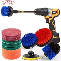 14Piece Drill Brush Attachments Set, Scrub Pads & Sponge, Power Scrubber Brush Cleaning Kit with Scrub Pads & Drill bit Extender
