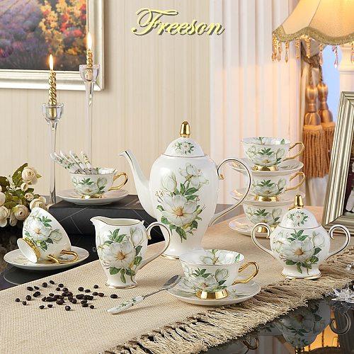 Camellia Bone China Coffee Set British Porcelain Tea Set Ceramic Pot Creamer Sugar Bowl Teatime Teapot Coffee Cup Mug Coffeeware