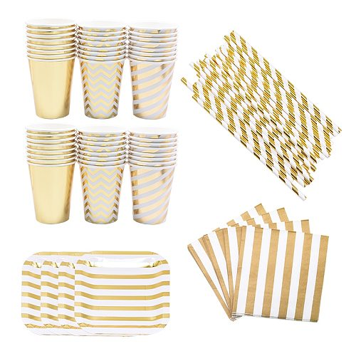 Gold Stripe Disposable Tableware Paper Plates Cups Straws Birthday Party Decorations Baby Shower Wedding Party Supplies
