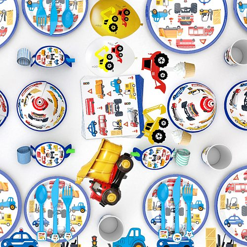Kid Party Decoration Construction Vehicle Excavator Tableware Set Balloon Globos Cake Topper Banner For Birthday Wedding Party