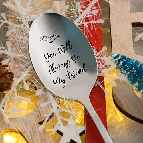 Stainless Steel Spoons Personalized Engraving Tableware Spoon Coffee Spoon Best Present for Husband Madam Family and Friends