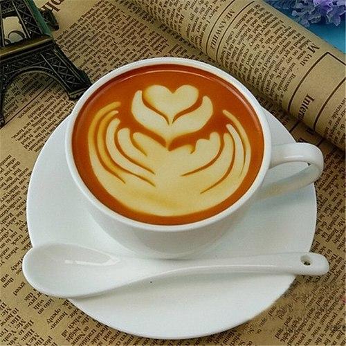 16 PCS/ Set Mixed Styles Cappuccino Latte Coffee Stencils Duster Cake Mold Spray, Coffee DIY Art Stencils