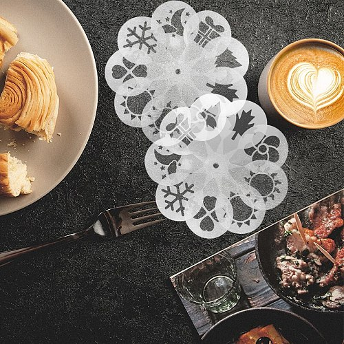 19pcs Food Grade PET Safety Coffee Stencil Handmade Cake Chocolate Attractive Decorating Printing Mold Home Cafe Coffeeware