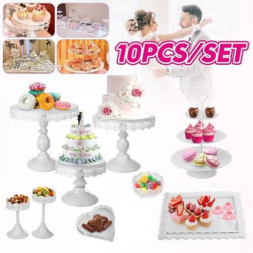 10Pcs Gold Metal Cupcake Cake Holder Dessert Stand Set Wedding Event Party Display Tower Plate Wedding Dessert Table Decoration