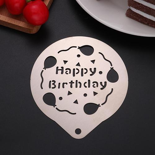 Stainless Steel Coffee Stencil Barista Cake Decorating Stencil Hollow Happy Birthday Baking Template for Latte Cappuccino