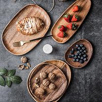 Wooden lovesickness Wood Irregular Round Pastry Serving Pan Plate Rectangle Food Dish Dried Fruit Tray Tableware Table Decor