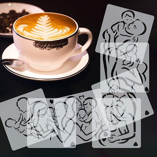 Mother's Day Coffee Printing Model Cappuccino Mold  Foam Spray Milk Cake Cupcake Coffee Stencils Powdered Sieve Tools Template
