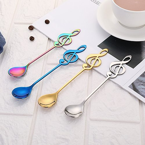 7 Colours Tea Coffee Spoon Spoon Long Handle Dessert Stainless Steel Vintage Teaspoons Drink Tableware Flowers Design Gadget