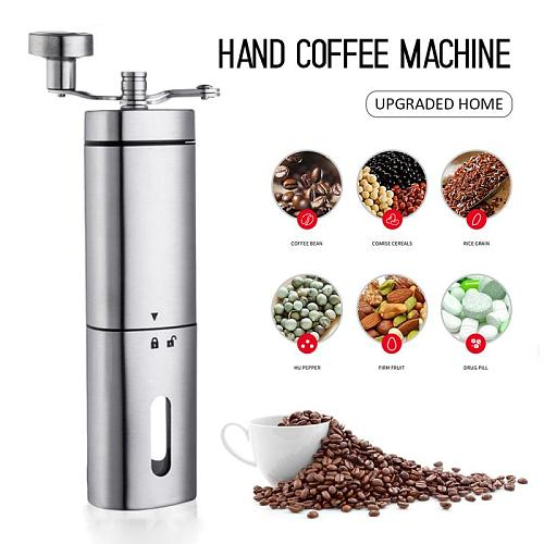 Upgraded Hand Manual Coffee Portable Grinder Adjustable Ceramic Coffee Bean Nuts Spices Mill Stainless Steel Kitchen Mills Tools