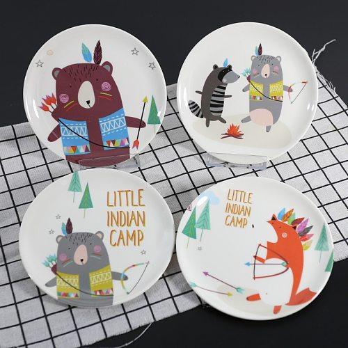 Cartoon Bear Fox Dinner Plate Snack Tableware Imitation Porcelain Tableware Dessert Dish Child Round Breakfast Plate