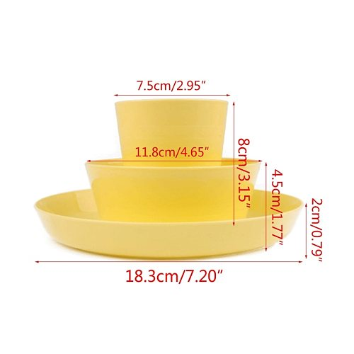 12 Piece Plastic Dinnerware Set, Reusable BPA Free 4 Cups, 4 Bowls and 4 Plates Student Dinnerware Sets Kitchen Tableware