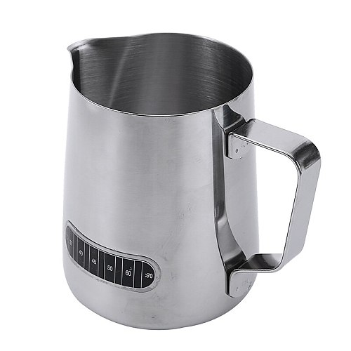 600ml Stainless Steel Coffee Pot Milk Frothing Jug With Thermometer Pull Flower Cup Drinkware Frothing Pitcher Kitchen Tool