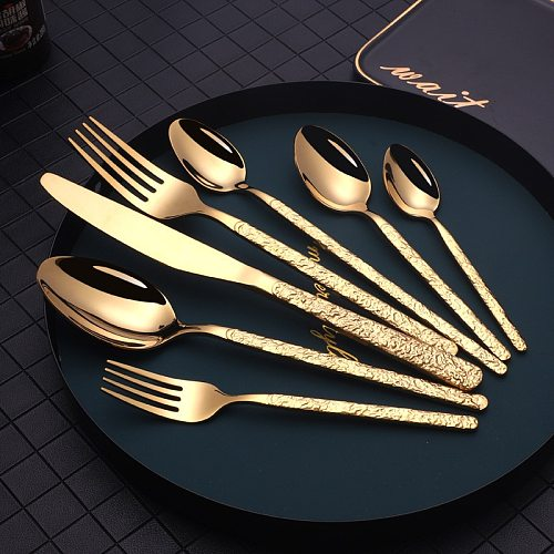 42pcs Cutlery knife and fork European Embossed Western Tableware Retro Stainless Steel Dinnerware Sets Spoon