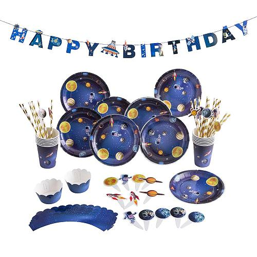 Outer Space Birthday Party Decorations Astronaut Rocket Ship System Theme Party Planet Space Cups Boy Kids Paper Supplies Favors