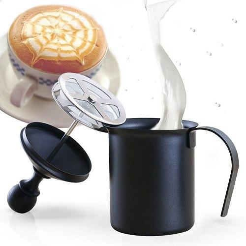 Household Manual Milk Frother Double Mesh Stainless Steel Creamer Foamer Cappuccino Latte Milk Jug 800ml lender Coffeeware Tool