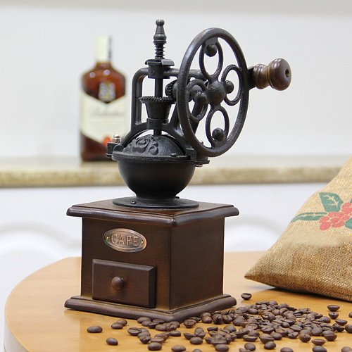 Wheel Design Vintage Manual Coffee Grinder With Ceramic Movement Retro Wooden Mill Hand Coffee Maker Machine For Home Decoration