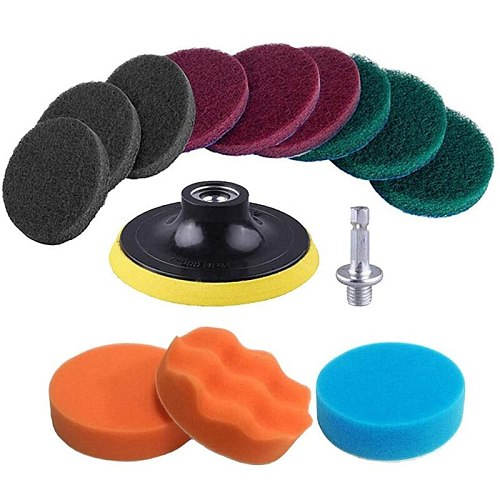 13 Pieces Drill Power Scrubber Brush Scouring Pads & Sponge Cleaning Kit - All Purpose Cleaner Scrubbing Cordless Drill