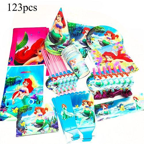 123pcs Ariel Mermaid Disposable Tableware Little Mermaid Birthday Party Decorations Mermaid Ariel Tablecloths Invitations Straws