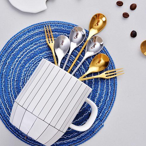 Originality Leaf Metal Coffee Spoon Small Luxury Cute Coffee Stirring Spoon Stainless Steel Seasoning Dessert Fork Teaspoon 1pc