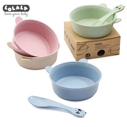 Baby Feeding Food Tableware Panda Wheat Kid Dishes Eco-Friendly Children Training Dinnerware Plate Bowl Spoon 2 Pcs/Set