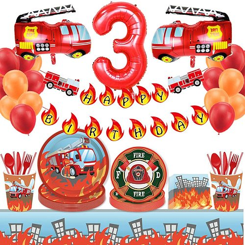 Construction Birthday Party Supply Firefighter Vehicle Truck Banner Balloon Boy Party Fireman Party DIY Decor Tableware Set