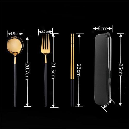 4PCS Western Stainless Steel Dinner Tableware Set New Cutlery Knife Fork Spoon Dinnerware Set With Box Household Dinner Tools