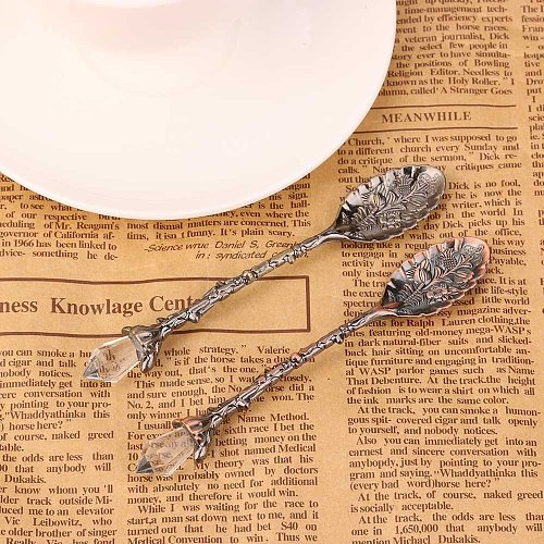 Spoon Sugar Tea Dessert Cake Retro Coffee Crystal Head Pattern Style Coffee Sugar Tea Dessert Spoon Fork Kitchen Tableware