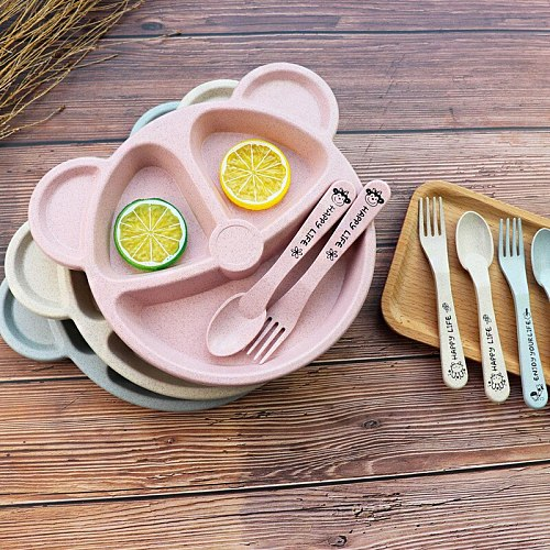 Baby Talheres Fork Colher Feeding Free Kids From Animated Practice Cartoons Baby Eat Dishes Anti-Hot Dining Plate Children Plate