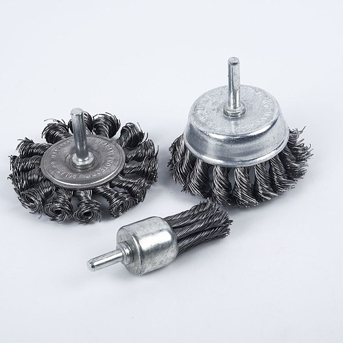 3PCS Steel Rotary Joint Knot Flat Wire Wheel Cup Brush Disk Rust Removal Polishing For Drill Angle Grinder Gadget Rotary Tool